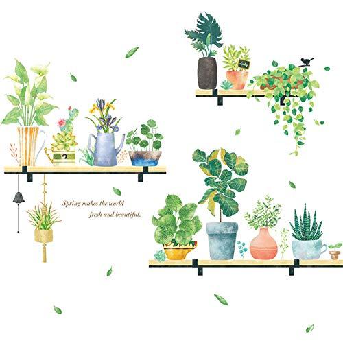 aloiness Etiqueta de la Pared Planta en Maceta Vinilos Decorativas pared de Sala de Estar de Dormitorio Adhesivo de Pared Autoadhesivo Extraíble