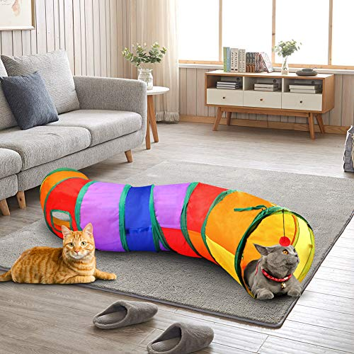 Cat Tunnel with Play Ball, Interactive Peek-a-Boo Cat Chute Cat Tube Toy, Colorful S-Tunnel for Indoor Cat, Best for Puppy, Kitty, Kitten, Rabbit
