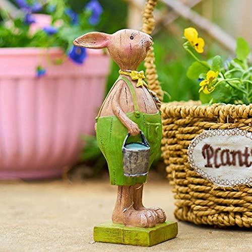 Estatua de jardín Adorno de jardín a prueba de agua Adorno de jardín al aire libre, Resina creativa Figura de conejo de trabajo duro, Impermeable, Estatua de jardín para patio Jardín Balcón De