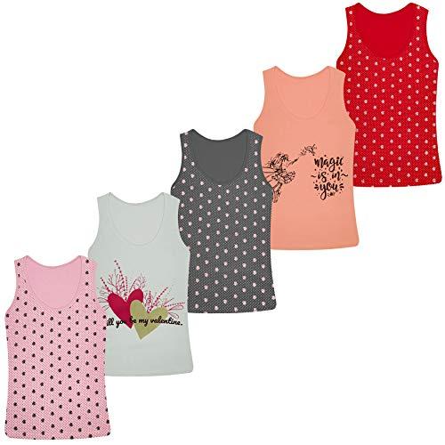 PiriModa 5 Stück Mädchen Baumwolle Unterhemden Tank Top (92-98 (2-3Jahre), Modell 13)