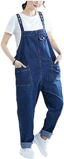 neveraway Women Simple Pants Harem Cargo Pocket Denim Overalls