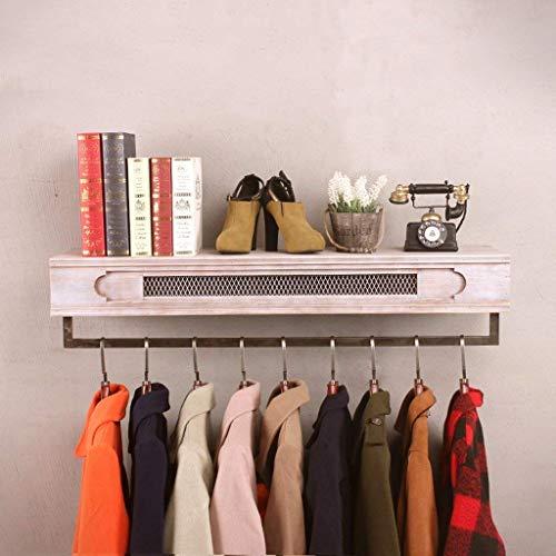 ZHOUMEI garderobe garderobe met kledingrek opknoping aan de muur Retro oude planken massief hout smeedijzer voor vrouwen (kleur: blauw, grootte: 120cm)