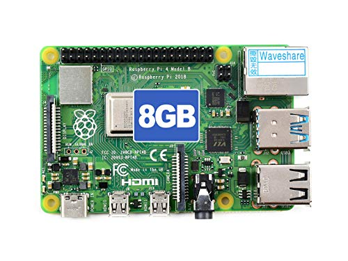 Waveshare Raspberry Pi 4 Model B 8GB RAM with Completely Upgraded More Powerful Processor, Richer Multi-Media Capability and Faster Networking