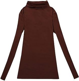 Zimaes Women's Velvet Long-Sleeve Warm Solid Turtleneck Pullover Top Tees