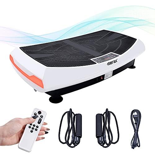 Merax 4D-Vibrationsplatten-Trainingsgerät in gebogenem Design, dreimotorige 4D-Vibrationsplattform mit LED-Licht und Bluetooth-Lautsprecher, Ganzkörper-Vibrationsgerät für Heimfitness (weiß)