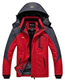Wantdo Men's Mountain Waterproof Fleece Ski Jacket Windproof Rain Jacket, Red, 2XL