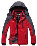 Wantdo Men's Waterproof Mountain Jacket Fleece Windproof Ski Jacket US M  Red M