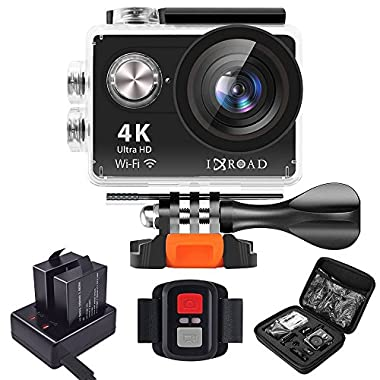 IXROAD Sports Action Camera 4K WiFi Waterproof Helmet Cams with Remote Charger Dock Accessories for Bike Bicycle Motorcycle (Black)