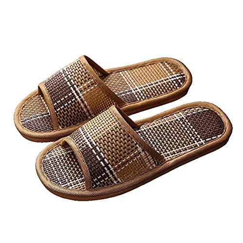 SY-Home Pantofole Estive Unisex, Sandali da Bagno con Punta Aperta in Rattan Intrecciato di bambù Ciabatte da Piscina Estive da Spiaggia All'aperto,EU44/45 UK9/10