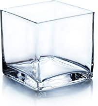 """Vasefill 4"""" Square Glass Vase, 4"""" Clear Cube Centerpiece, 4""""L x 4"""" W x 4"""" H Candleholder"""