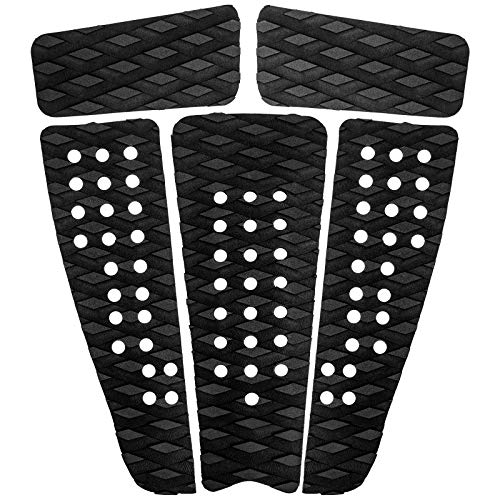 Pluzluce EVA Surfboard Traction Pads, 5 Pieces Surfing Tail Pad with Arch and Kicker, Anti-Slip Deck Grips Traction Pads for Surfboards/Skimboards/Longboards/Shortboards/Fish Board Black