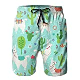 AMRANDOM Llama Cactus Mint Green Lightweight Boardshorts Swim Trunks Casual Tropical Running Soccer Board Shorts for Men Teens Boys