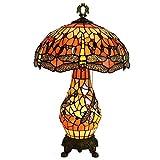 boaber Lámpara de mesa idílica festiva creativa sala de estar restaurante dormitorio hotel libélula niño madre lámpara acristalada