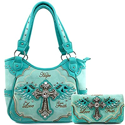 Justin West Women's Concealed Carry Angel Wings Cross Faith Hope Love Western Handbag Tote Purse (Turquoise Purse Wallet Set)