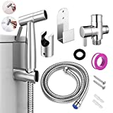 Hand-held Bidet Sprayer Set, Stainless Steel Toilet Shattaf Cloth Diaper Sprayer with Anti-Leaking