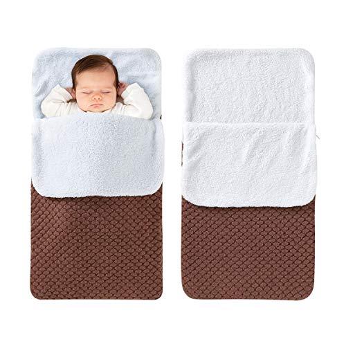mimixiong Cobijas para bebés y niños recién nacidos de tejido suave de felpa (café)