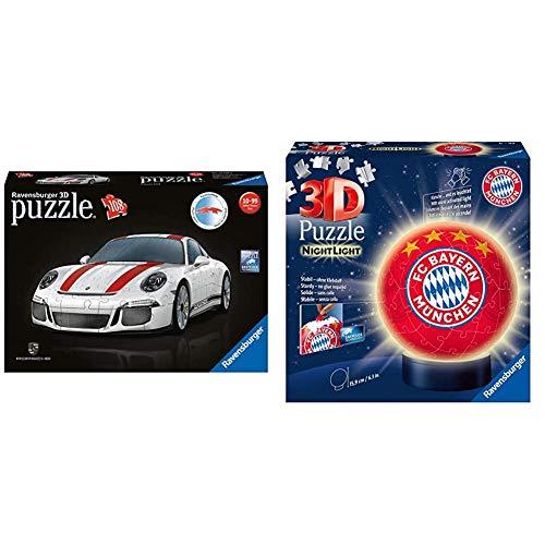 Ravensburger 3D Puzzle 12528, Porsche 911 R, 3D Puzzle für Kinder und Erwachsene mit 108 Teilen & 3D Puzzle Nachtlicht FC Bayern München - Fanartikel für Kinder ab 6 Jahren, LED Nachttischlampe