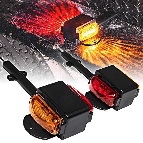 2pc 7' Amber + Red LED Trailer Fender Light Set [DOT Approved] [SAE P2] [IP67 Waterproof] Trailer Clearance Marker Lights for Boat Utility Trailer Hauler Car