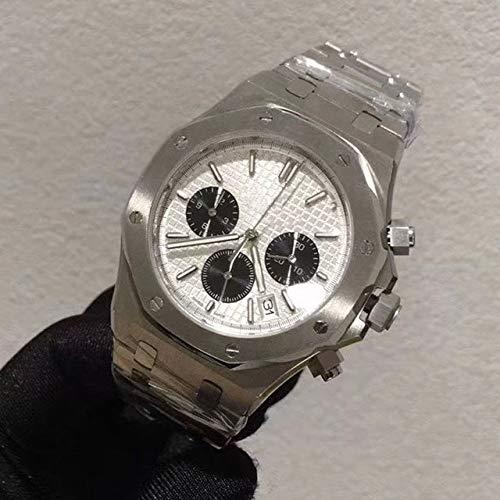 MKOIJN Horloges 41Mm Luxe Chronograaf Datum Horloges Heren Roestvrij Staal Waterdicht Lichtgevend Multifunctioneel Quartz Meter Uurwerk