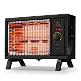 Homeleader ETL Portable Radiant Heater, 1250W/1500W Indoor Space Heater, Rapid Heating with Adjustable Thermostat, Perfect for garages, workshops, Warehouses, Black