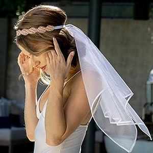 xo, Fetti Bachelorette Party Veil - Rose Gold Crystal Crown | Bridal Shower Veil | Bride to Be Gift, Bachelorette Favor + Engagement Decoration by xo, Fetti
