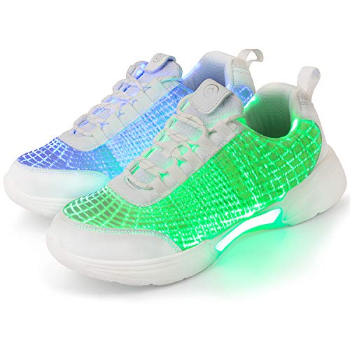 Shinmax LED Shoes Luminous Fiber Optic Light Up Shoes for Women Men Boys Girls USB Charging Flashing Trainers for Party Gift Christmas, New Year, Party Gift Pure White