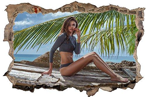 Model Sexy Frau am Strand Wandtattoo Wandsticker Wandaufkleber D0599 Größe 70 cm x 110 cm
