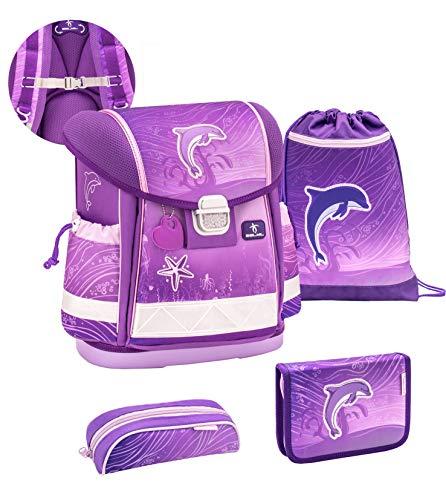 Belmil ergonomischer Schulranzen Set 4-teilig mit Brustgurt/Mädchen 1. klasse 2. klasse 3. klasse - Super Leicht 860-950 g/Delfin, Dolpfin/Lila (403-13/S/C Dolphin Purple)