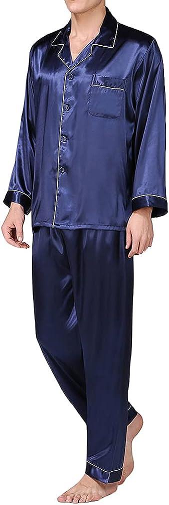 HAORUN Men Satin Summer Pajamas Set Long Sleeve Regular Fit Smooth Sleepwear Nightwear