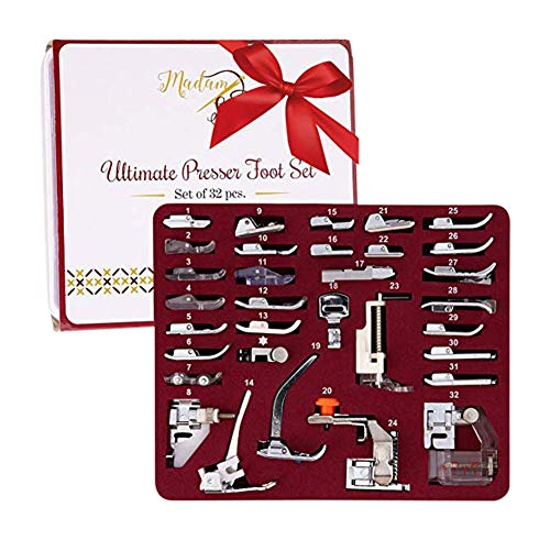 Madam Sew Presser Foot Set 32 PCS - The ONLY Sewing Machine Presser Foot Kit with Manual, DVD and Deluxe Storage Case with Numbered Slots for Easy and Neat Organization Madam Sew
