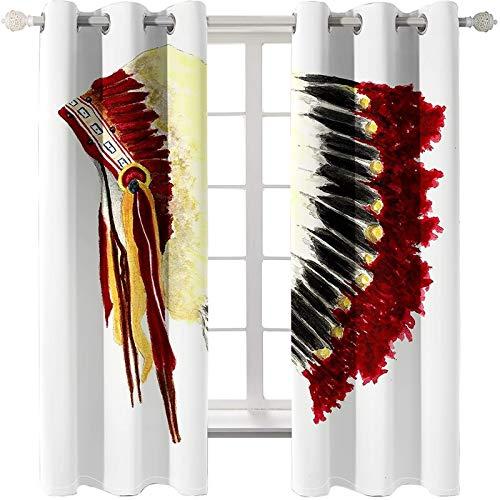 AmDxD 2 paneles 100% poliéster cortina de ducha, cortinas para dormitorio, pintura al óleo, cortinas de sombrero indio, lavable a máquina, rojo amarillo, 250 cm de ancho x 100 cm de largo