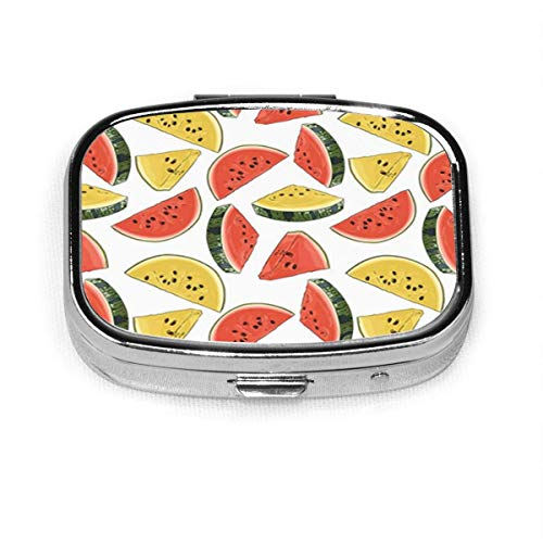 Colorful Abstract Watermelon Pattern Green Color Cute Dessert Food Pill Box Decorative Boxes Pill Case Tablet Holder Wallet Organizer Case for Pocket Or Purse