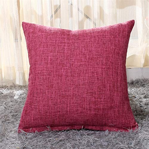 Soft Throw Pillows, Artificial Linen Throw Pillow Covers Pure Color Decoration Decorative Throw Pillows, for Sofa Beds, Etc. Gift (Color : Tango Red, Size : 50cm x 50cm 1pc)