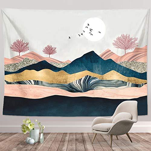 """Mountain Sunset Tapisserie, Natur Wald Baum Landschaft Wandteppiche, Wandbehang für Schlafzimmer Wohnzimmer Wohnheim (Mountain Sunset-51.2 """"X 59.1"""")"""