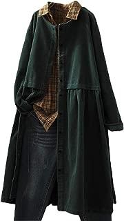 Mujer Plus Size Chaquetas Abrigo Casaca Botones de Pana Sueltos Sueltos hasta la Rodilla Gabardina Cortaviento Rompevientos Ropa de Abrigo