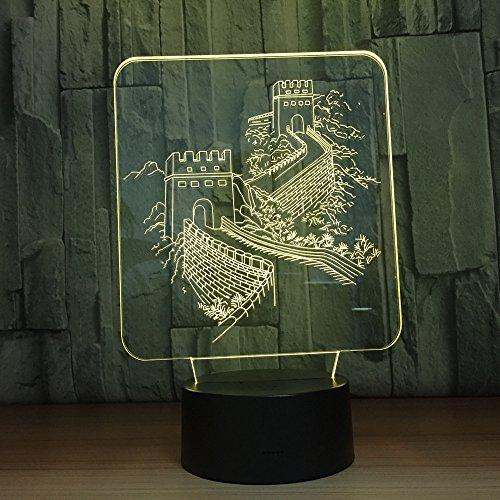 3D LED Chinese muur gebouw nachtlicht illusie lampen 7 kleurverandering tafellamp decoratieve lamp sfeerlicht decoratie voor kinderen Kerstmis verjaardagscadeau
