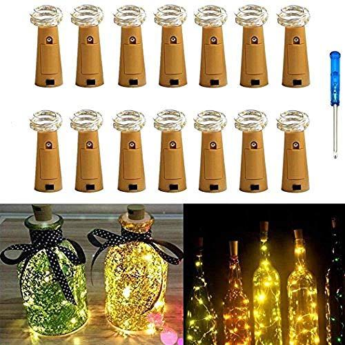 14er Pack Flaschenbeleuchtung Kork 20 Micro LEDs 2M String Lights mit Schraubendreher Weinflasche Glasdekor DIY Lights for Party Geburtstag Weihnachten Hochzeit Tischdekor (Warm Weiß)-#4