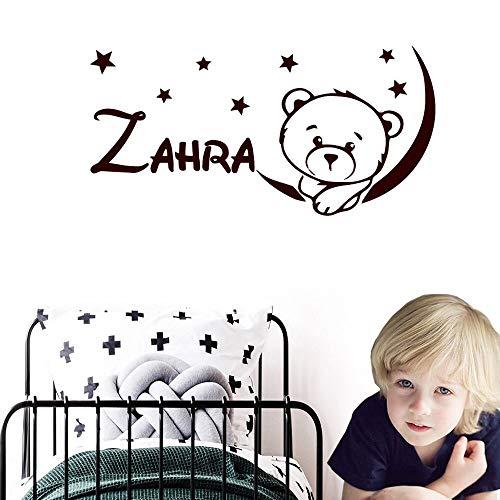 Lindo oso y estrella nombre personalizado etiqueta de la pared decoración de vinilo decoración de la habitación de los niños del bebé calcomanía mural decoración del dormitorio papel tapiz 60x124cm
