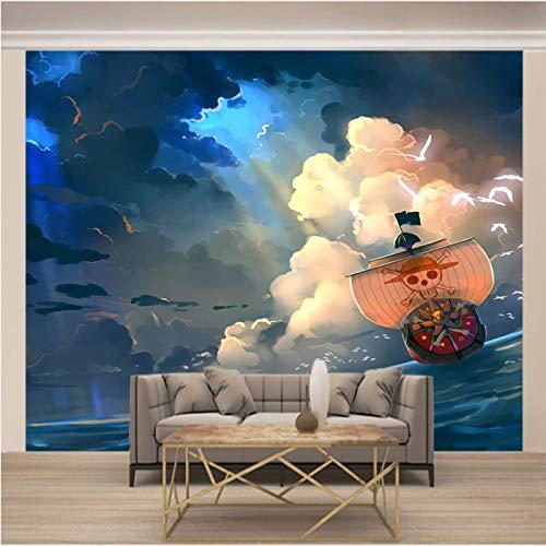 Msrahves fotomurales xxl Nubes oscuras mar anime piratas grande Mural TV Fondo Papel de pared Sala de estar Sofá Dormitorio Papel tapiz Papel pintado creativo moderno tejido no tejido