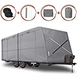 XGear Outdoors Windproof Upgraded Travel Trailer Cover 16' - 18' RV Cover, Extra-Thick 4 Layers Anti-UV Top, Rip-Stop with 2PCS Extra Straps