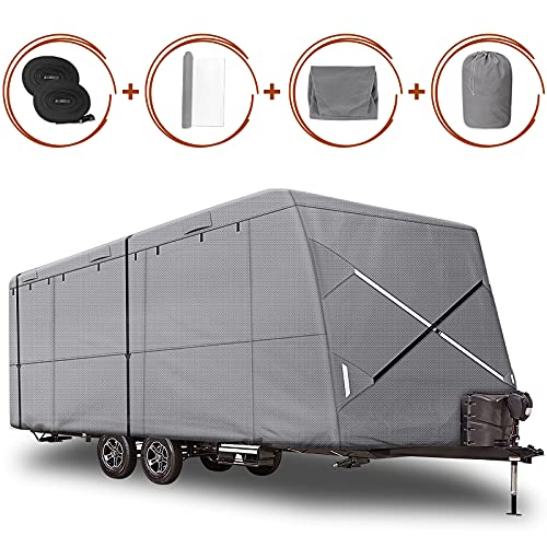 XGear Outdoors Windproof Upgraded Travel Trailer Cover 27' - 30' RV Cover, Extra-Thick 4 Layers Anti-UV Top, Rip-Stop with 2PCS Extra Straps