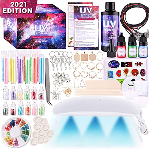 Insnug Epoxy Resin Kit for Beginners - Silicone Molds UV Light Clear Casting DIY Kits Jewelry Bracelet Making Kits Supplies Necklace Keychain Bracelet Arts and Crafts Resin Bundle Office Home Decor