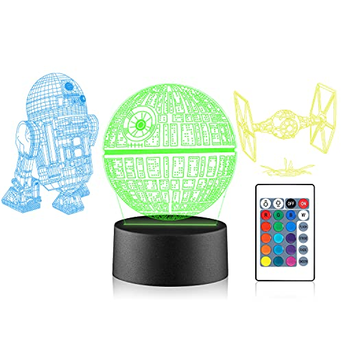 Xpassion Star Wars Luce Notturna 3D Phantom Lampada da Tavolo Proiezione Luce Notturna per Bambini Soggiorno Camera dei Bambini Decorazione Casa, Illuminazione di Ricarica USB a 16 Colori LED Luci