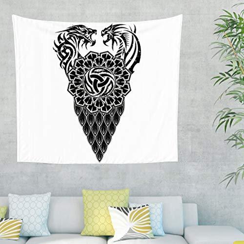 Zwarte en witte Keltische hoorn van Odin Scandinavisch tatoeëren wandtapijt Viking draak weegschaal knopen kunstwerk wandbehang tapijt Noordse mythologie wandkleed 150x130cm wit