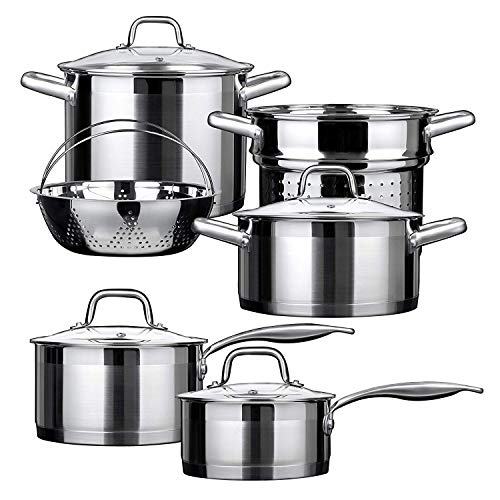 Duxtop Professional Stainless Steel Induction Cookware Set Impact-bonded Technology 10-Piece Set