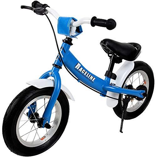 Deuba Laufrad Kinderlaufrad Sattel Lenker höhenverstellbar mit Bremse Lauflernrad Laufrad 2-5 Jahre Kinder Fahrrad 12' blau