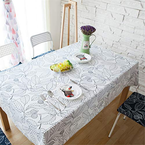 Polyester Rectangular White Leaf Printing Square Tablecloth Kitchen Dining Table Coffee Table Cloth Round Table Cloth Tv Cabinet Cover Cloth 140x220cm