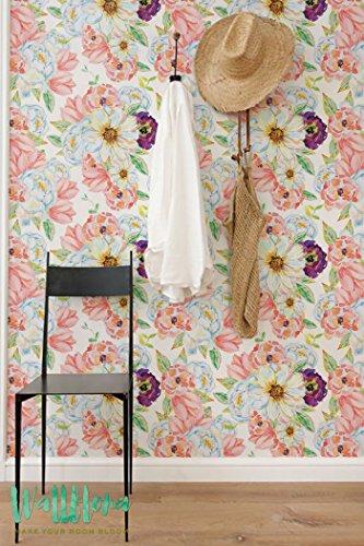 Chrysanthème et aneomen Papier peint Motif fleur - amovible - Papier Peint Fleur Sticker Mural Papier peint autocollant - Sticker mural -, 53 Cm wide by 243 Cm Tall