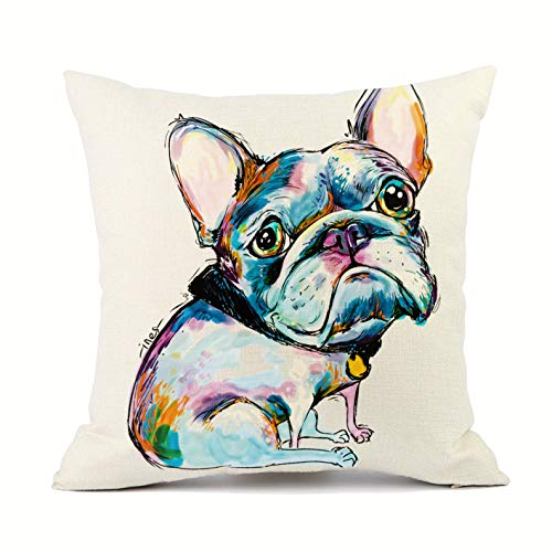 Redland Art Cute Pet Frenchie Baby Dog Throw Pillow Covers Linen Sofa Decorative Cushion Cases for Home Decor 18×18 Inch