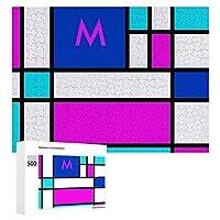 INOV モンドリアン すみれ色 紫色 青い ジグソーパズル 木製パズル 500ピース キッズ 学習 認知 玩具 大人 ブレインティー 知育 puzzle (38 x 52 cm)